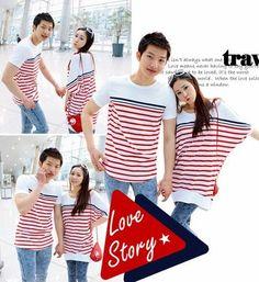 2011 Korean Style Strips Leisure Short Sleeve Couple T-shirt
