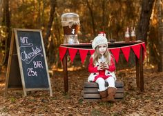 Adorable rustic, red and white themed 3rd birthday portraits with hot cocoa stand