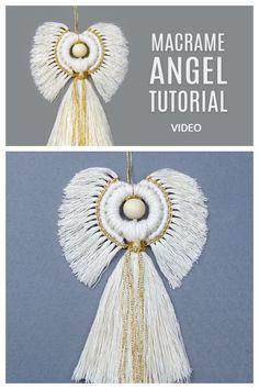 Macramé Angel, Macrame Tutorial, Diy Tutorial, Diy Christmas Angel Ornaments, Diy Angels, Crochet Snowflake Pattern, Macrame Owl, Macrame Wall Hanging Diy, Angel Crafts