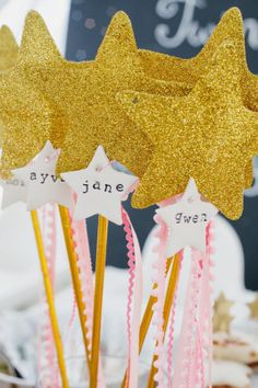 "DIY star wands for a ""Twinkle Twinkle"" birthday party."
