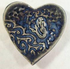 Blue ceramic mermaid heart bowl ceramic ring by MMacKenzieStudio