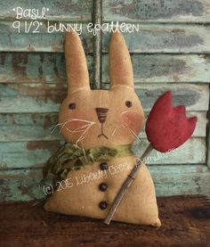 Basil Primitive Easter Bunny Rabbit Pattern pdf Instant Download