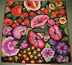 Folk Embroidery Patterns Pillow made with hand-embroidered fabric from Oaxaca, Mexico - Mexican Embroidery, Hungarian Embroidery, Learn Embroidery, Embroidery Fabric, Vintage Embroidery, Flower Embroidery, Beginner Embroidery, Embroidery Designs, Mexican Pattern