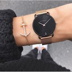 Become an eye-catcher with the Watch Miss Ocean Black Sunray in black/rose gold with mesh strap ⚓ PAUL HEWITT Ladies Watch Trendy Watches, High End Watches, Elegant Watches, Beautiful Watches, Cool Watches, Watches For Men, Cheap Watches, Casual Watches, Woman Watches