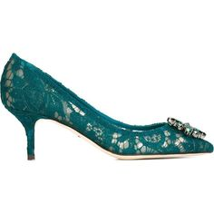 Dolce & Gabbana \'Bellucci\' Pumps (57,815 INR) ❤ liked on Polyvore featuring shoes, pumps, green shoes, pointed toe kitten heel pumps, kitten heel pumps, floral print pumps and floral pumps