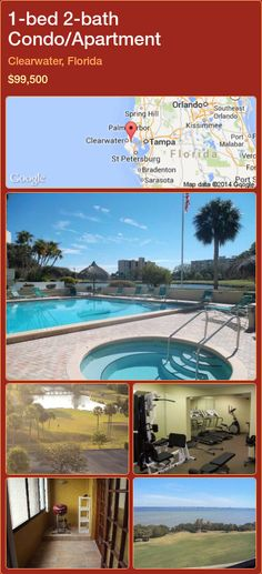 1-bed 2-bath Condo/Apartment in Clearwater, Florida ►$99,500 #PropertyForSaleFlorida http://florida-magic.com/properties/38681-condo-apartment-for-sale-in-clearwater-florida-with-1-bedroom-2-bathroom