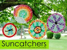 Fun after school project! Melted Bead Suncatchers in Embroidery Hoop Frames -- using those plastic pony beads. Summer Crafts, Diy Crafts For Kids, Easy Crafts, Art For Kids, Craft Kids, Summer Fun, Creative Crafts, Summer Time, Pony Bead Crafts