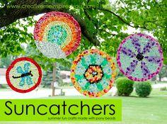 melt art, pony beads, summer crafts, summer craft, kids craft, boredom buster, suncatcher, sun catchers, window art, melted pony beads, summer fun,