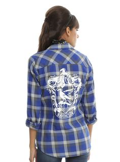 Harry Potter Ravenclaw Plaid Girls Woven Button-Up, BLUE