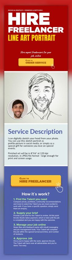 """Line Art Portrait Design & Graphics, Drawing & Sketching   I can digitally sketch your head from your photo. You can use this sketch portrait as profile-picture in social media, or simply as a special gift for someone you love on special events.    Finished art will be in 8""""X6"""" at 120 dpi resolution, in JPEG file format - large enough for print and screen usage."""