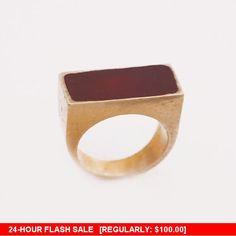 Enamel Gemstone Gold Plated ring Vintage round ring by blumaman
