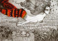 Grafito sobre papel y técnica mixta, de Belén Vargas.  Ilustración / Clase de Arte
