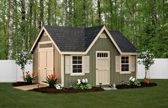 12 x 16 Classic Shed with Dormer Package / New England series | Penn Dutch Structures Transom window over door and door colors
