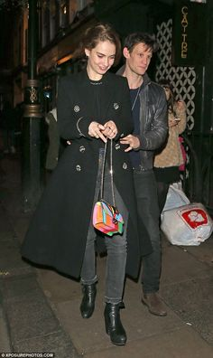 Smitten kittens: Lily James and Matt Smith enjoyed yet another romantic evening out on the town as they danced the night away at the Groucho Club in London on Wednesday evening Nineties Fashion, Tomboy Fashion, Matt Smith Lily James, Pride And Prejudice And Zombies, Fearne Cotton, My Idol, Night Out, Celebrity Style, Cool Outfits