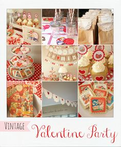 a vintage valentine party- love the doilies on the paper bags. Could use white bags, and red or gold doilies too.