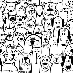 Dog and Cat Doodle wall mural from Murals Your Way will add a distinctive touch to any room. Gato Doodle, Doodle Art, Black And White Doodle, Black And White Drawing, Black White, Tier Doodles, Serious Cat, Murals Your Way, Animal Doodles