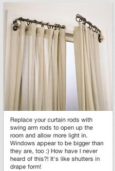 Swing arm rods instead of regular ol curtain rods Swing Arm Curtain Rods, Doorway Curtain, Window Coverings, Window Treatments, Mold In Bathroom, Curtains With Blinds, French Door Curtains, My Living Room, Home Projects