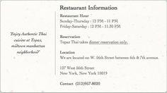TOPAZ Thai Restaurant; lunch is 12 until 3PM; 127 W 56th Street; NYC