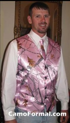 Camo Formal Mens Vest Pink-in reg camo though Wedding Fail, Wedding Men, Dream Wedding, Wedding Ideas, Wedding Stuff, Wedding Vows, Fall Wedding, Wedding Styles, Wedding Inspiration