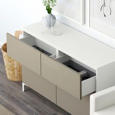 IKEA BESTA White, Selsviken High-Gloss/white Storage combination w doors/drawers Plastic Foil, Frame Shelf, Ikea Family, Family Room, Drawer Runners, Living Room White, Drawer Fronts, Interior Accessories, Storage Spaces