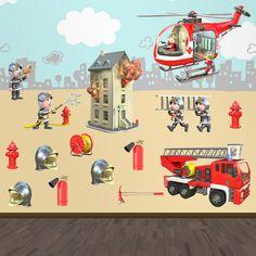 Adesivi per bambini: Kit vigili del fuoco. Adesivi murali bambini a kit. #adesivimurali #decorazione #modelli #mosaico #vigilidelfuoco  #StickersMurali
