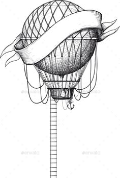 Buy Vintage Balloon With Banner by sharpner on GraphicRiver. Vintage balloon with ladder and banner isolated on white Balloon Illustration, Pencil Illustration, Graphic Illustration, Fire Balloon, Hot Air Balloon, Balloon Wall, Air Balloon Tattoo, Creative Sketches, Ceramic Painting