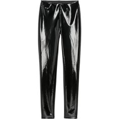 H&M Vinyl leggings ($25) ❤ liked on Polyvore featuring pants, leggings, vinyl leggings, wet look leggings, elastic pants, shiny pants and shining leggings