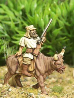 Samuel Baker rides his faithful oxen Antoinette