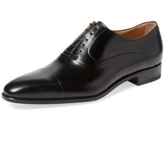 Romano Martegani Men's Leather Oxford - Black - Size 10 ($349) ❤ liked on Polyvore featuring men's fashion, men's shoes, men's oxfords, black, mens oxford shoes, mens lace up shoes, mens shoes, mens black leather shoes and mens cap toe shoes