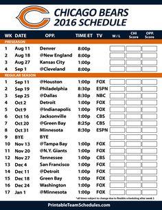 2016-17 Chicago Bears Schedule