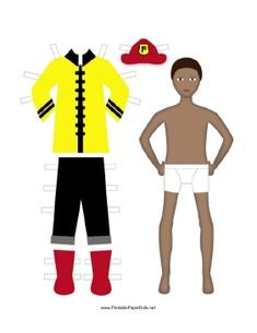 This paper doll printable includes a fireman and his outfit. Free to download and print