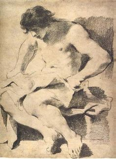Guercino, Seated Young Man Looking Down, ca, 1619. Oiled charcoal with white chalk highlights on gray-brown paper. Getty