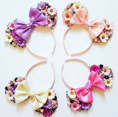 Made-To-Order Tangled Inspired Minnie Mouse ears Floral Minnie Ears Rapunzel Headband Disney Princess Diy Disney Ears, Disney Mickey Ears, Disney Diy, Disney Crafts, Cute Disney, Disney Headbands, Baby Headbands, Rapunzel, Floral