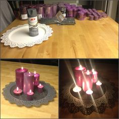 Purple and Grey wedding centerpieces. Thanks IKEA!