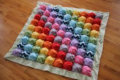 Bubble Blanket - Puff Blanket - Biscuit Quilt - Rainbow Chevron Bubble Baby Blanket with Green Minky Edging and Backing - Ready to Ship Puff Blanket, Bubble Blanket, Bubble Quilt, Biscuit Quilt, Puffy Quilt, Craft Projects, Sewing Projects, Craft Ideas, Sewing Ideas
