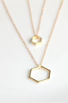 Tiny Gold Hexagon Necklace by DearMushka on Etsy