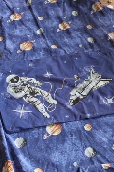 Space Theme Vintage Bedding Duvet Cover and Pillowcase Upcycling Material Spaceships & Spacemen by AtticBazaar on Etsy Vintage Bedding, Retro Fabric, Bed Duvet Covers, Space Theme, Spaceships, Pillow Cases, Kitsch, Unique Jewelry, Handmade Gifts