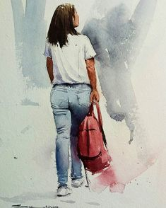 Ideas for drawing portrait painting Watercolor Portrait Painting, Watercolor Girl, Watercolor Fashion, Watercolor Sketch, Watercolor Landscape, Landscape Paintings, Painting People, Woman Painting, Figure Painting