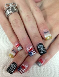 Redneck nails for night in the country, yerington, nv  Beer Nails. Budweiser. Coors. Jack Daniels.  Coors Light. www.awildhairsalonreno.com Nails by Janee