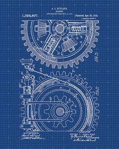 Patent Print of Gears From 1912  Patent Art Print  by VisualDesign