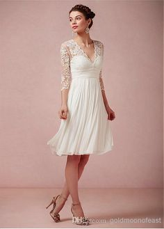 Wholesale Bride Dresses - Buy Long Sleeve Lace And Chiffon Knee-length Mother of the Bride Dresses, $93.0 | DHgate