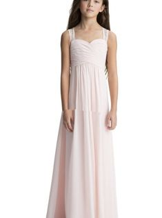 05f4a9cdca Pink Straps Ruched A-line Floor Length Chiffon Sleeveless Zipper Junior Bridesmaid  Dress Long Bridesmaid