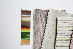 Mood board of hand woven samples and colour palette inspired by tree bark. Weaving Textiles, Tree Bark, Lampshades, Hand Weaving, Palette, Mood, Colour, Blanket, Inspired