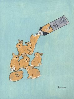 Acrylic Paint by Schinako Moriyama. Schinako Moriyama is an illustrator as bunny… Acrylic Paint by Schinako Moriyama. Schinako Moriyama is an illustrator as bunny art from Fukushima, Japan Continue reading and for more Acrylic art→View Website Digital Illustration, Character Illustration, Rabbit Illustration, Funny Illustration, Japan Illustration, Illustration Styles, Animal Illustrations, Illustration Artists, Lapin Art