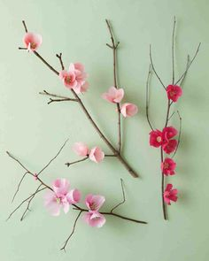 Cherry Blossom Branch how-to. Lay these down the middle of the tables.