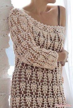 розовый ажур крючок пуловер look с платьем на бретелях