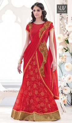 Aspiring Red Color And Embroidered Work Lehenga Saree Women splendor is magnified tenfold in this alluring red net lehenga saree. This engaging dress is displaying some brilliant embroidery done with embroidered and patch border work.