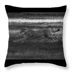Go Cheetah Go Throw Pillow by Miroslava Jurcik