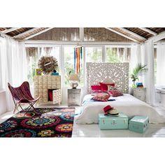 Tête de lit sculptée en manguier massif blanche effet vieilli L 160 cm Kerala   Maisons du Monde