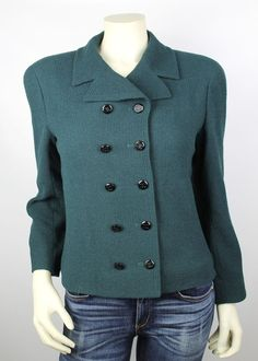 Chanel Boutique Forest Green Double Breasted & Black Logo Button Jacket Size 40 #ChanelBoutique #BasicJacket